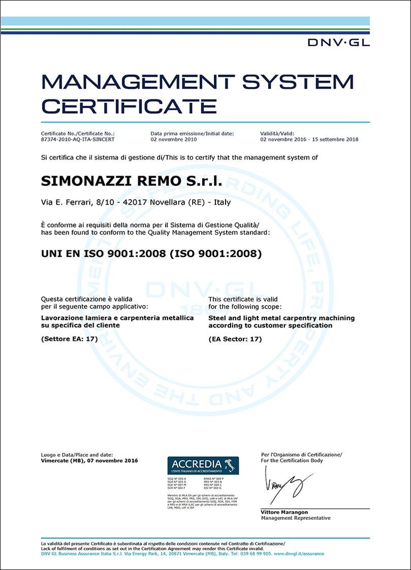 Simonazzi Remo Certificato ISO9001